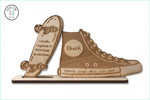 Houten gebroortekaartje voor skaters