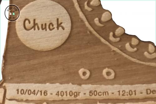 Close up van de gravering in het hout