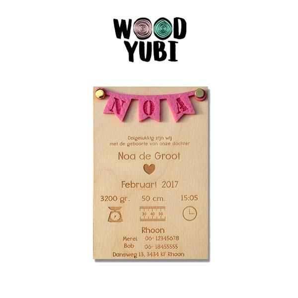 houten geboortekaartje Slinger Noa