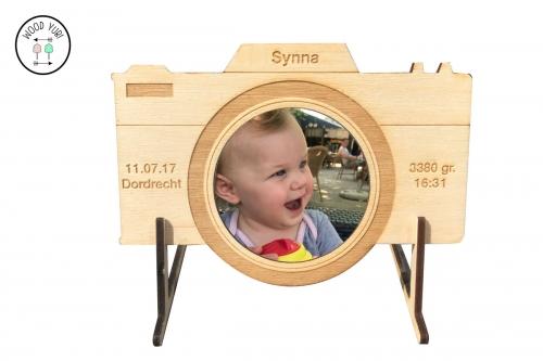 WOOD YUBI Houten geboortekaartje fototoestel Leica