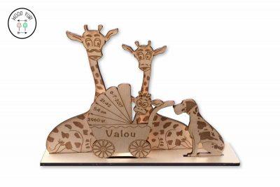 Houten geboortekaartje Giraffen familie