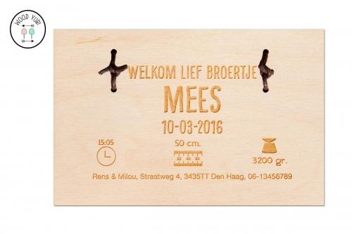 """Houten geboortekaartje """"Mees"""", gecombineerd met Leer"""