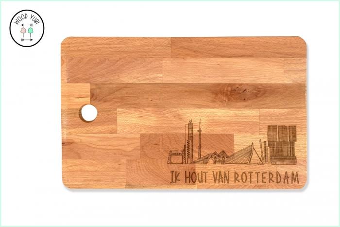 Houten snijplank met de gravure Ik hout van Rotterdam