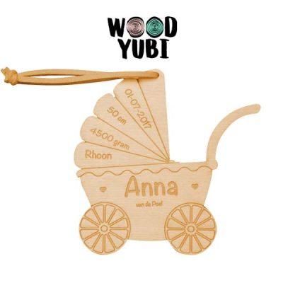 Houten Geboortekaartje Kinderwagen
