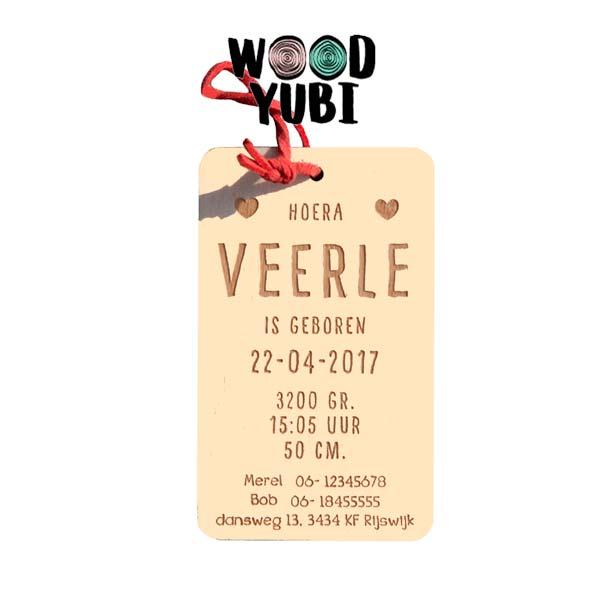 Houten geboortekaartje Veerle