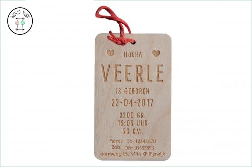 Label Houten Geboortekaartje