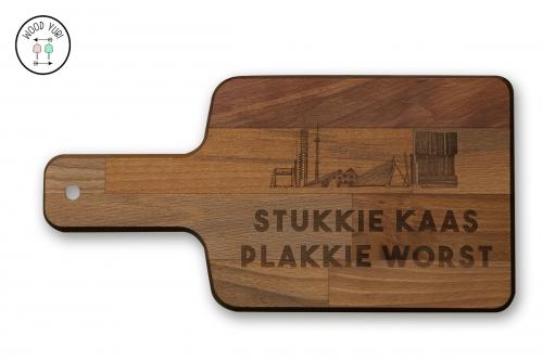 Houten Snijplank Beuken met de gravure Stukkie kaas plakkie worst