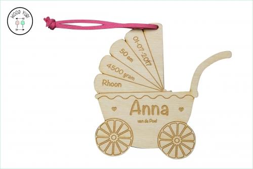 LabelHouten Geboortekaartje Anna