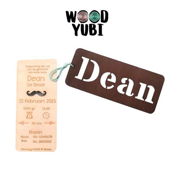 Houten Geboortekaartje Dean