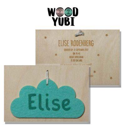 Houten Geboortekaartje Elise