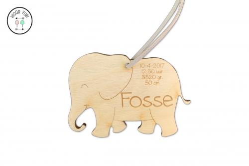 Houten geboortekaartje label olifantje Fosse