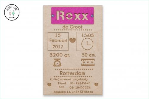 Houten geboortekaartje Rexx met label van Vilt