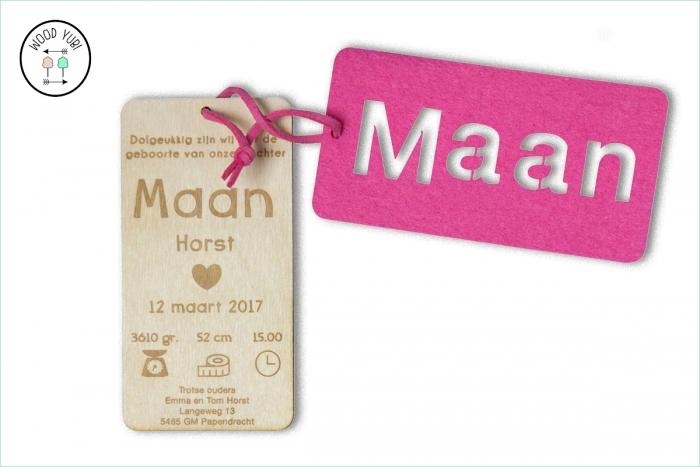 Houten label geboortekaartje label Maan