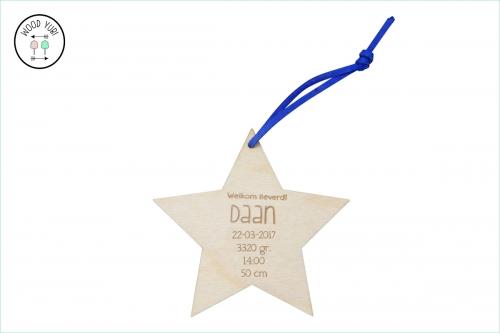 HoutenGeboortekaartje Ster Daan