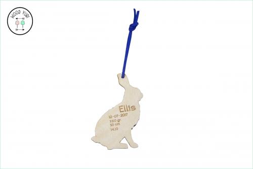 Houten Label Geboortekaartej Ellis