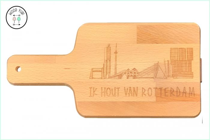 Snijplank massief beuken, met de gravure: Ik hout van Rotterdam
