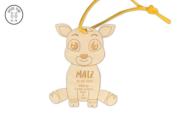 Houten geboortekaartje label Hertje Matz