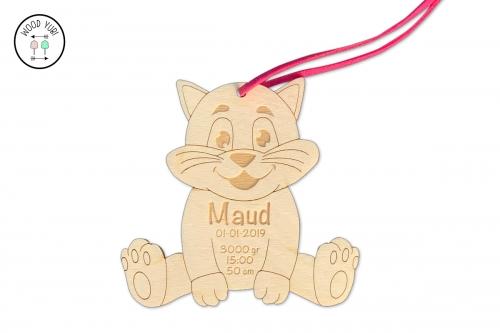 Houten geboortekaartje label kat Maud