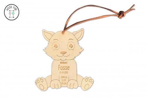 Houten geboortekaartje label vosje Fosse
