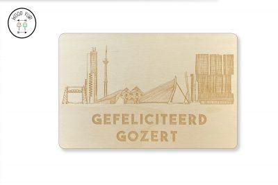 Wenskaart Rotterdamse skyline en de tekst Gefeliciteerd Gozert