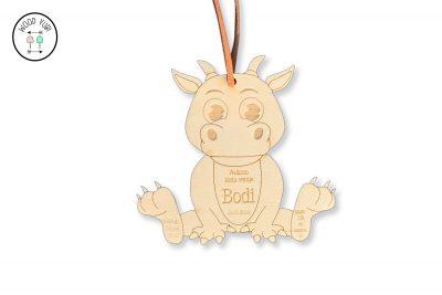 Houten geboortekaartje Bodi, in de vorm van een label