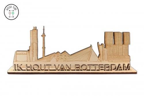 Wenskaart ik hout van Rotterdam, van hout en 3D uitgesneden