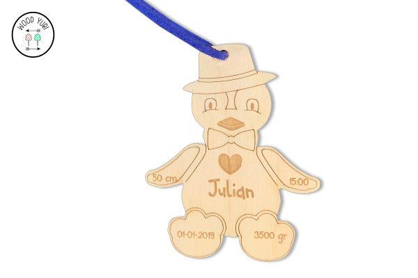 Houten Label geboortekaartje Julian
