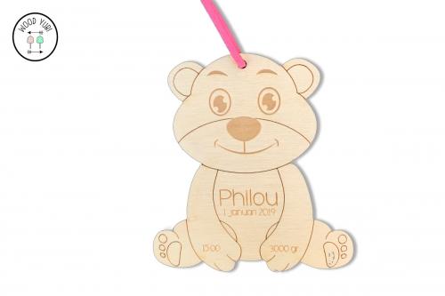 Geboortekaartje Houten Label beertje Pilou