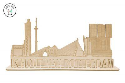 Skyline van Rotterdam met de tekst Ik hout van Rotterdam
