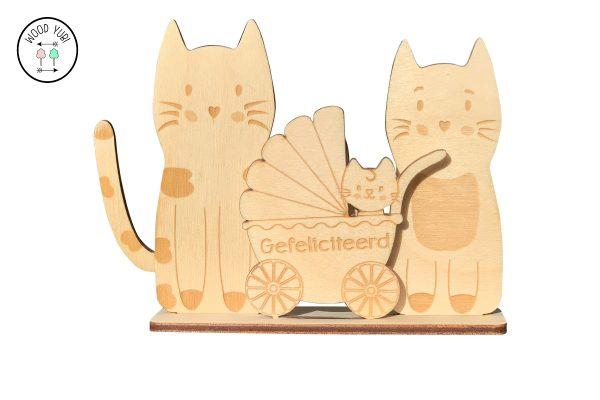 Houten geboortekaartjes katjes