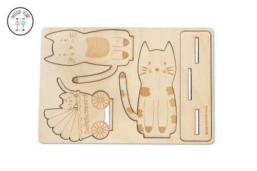 Beschermend raster voor houten geboortekaartjes Katjes