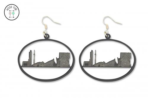Oorbel van de Rotterdamse skyline uitgevoerd in zwart Acrylaat