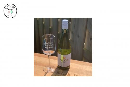 Wokmglas gegraveerd met Wijn WIjn WIjn
