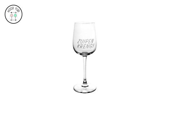 "Wijnglas "" Zuipen kreng"""