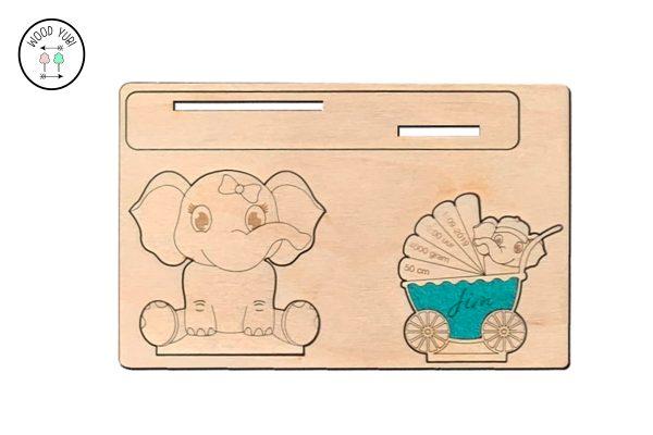 Houten geboortekaartje met Vilt van Olifant en kinderwagen