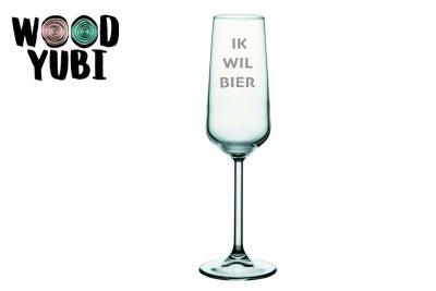 Champagneglas Ik wil Bier