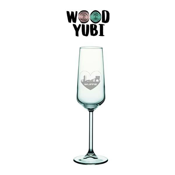 Champagneglas Valentijn 1 Wijffie