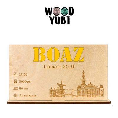 Houten Geboortekaartje Boaz 2