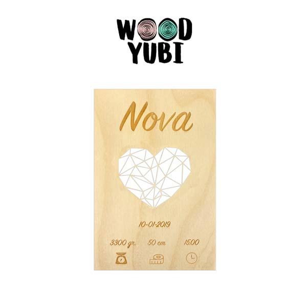 Houten geboortekaartje Nova 2