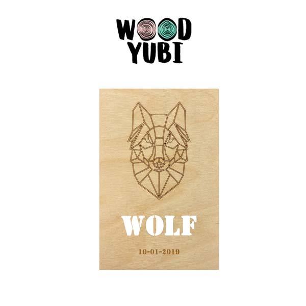 Houten geboortekaartje Wolf 1