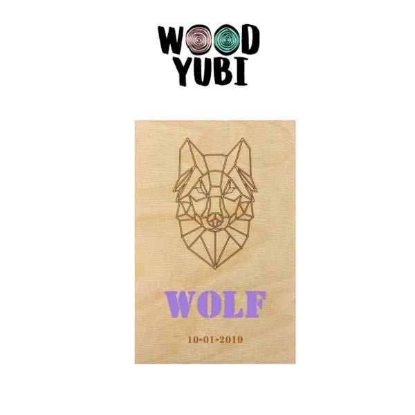 Houten geboortekaartje Wolf 2
