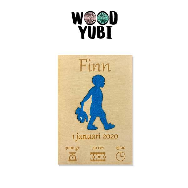 Houten Geboortekaartje Finn