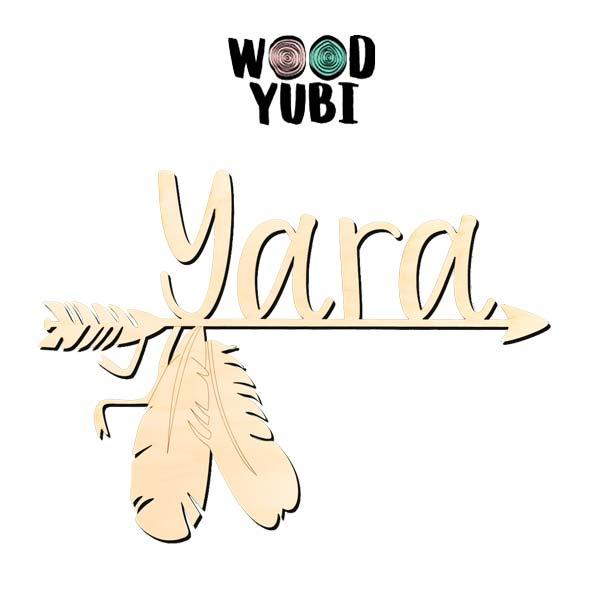 Naam in hout Yara 1